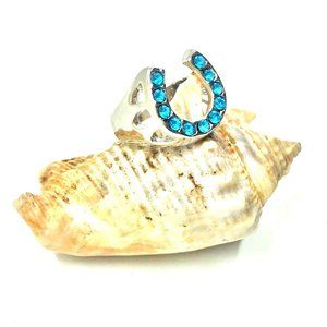 Women's Ring Large Horshoe Blue CZ's 8